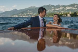 lake como wedding photographer boat